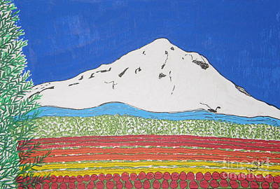 Mt Hoods Tulips Poster by Marcia Weller-Wenbert