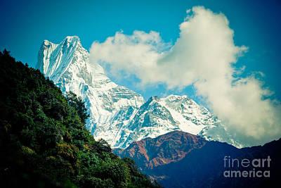 Mt Machapuchare Or Fish Tail Nepal Poster by Raimond Klavins