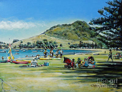 Poster featuring the painting Mt Maunganui Pilot Bay 201210 by Selena Boron