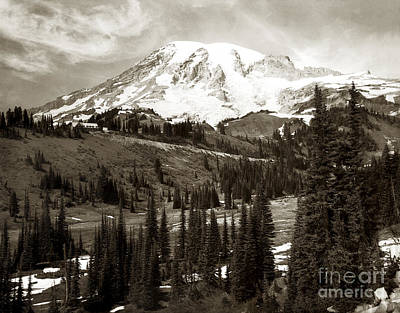 Poster featuring the photograph Mt. Rainier And Paradise Lodge In Sepia 1950 by Merle Junk