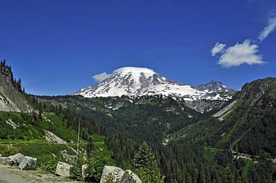 Mt Rainier Between The Valley Poster