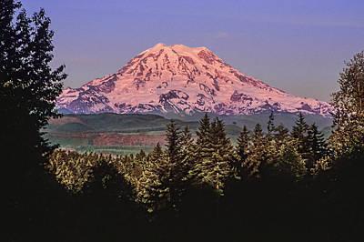 Mt Rainier Sunset Glow Poster by Kelley King