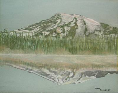 Poster featuring the pastel Mt Rainier by Terry Frederick