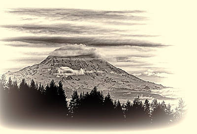 Mt. Rainier Wa In Black And White Poster