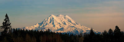 Mt Rainier Winter Panorama Poster