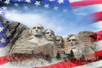 Mt Rushmore Flag Frame Poster by David Lawson