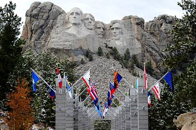Mount Rushmore Flagway  Poster by Clarice  Lakota