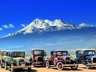 Mt. Shasta And Retro Cars  Poster