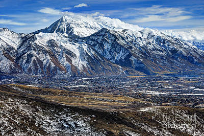 Mt. Timpanogos In Winter From Utah Valley Poster