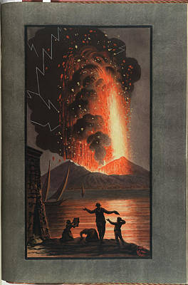 Mt. Vesuvius Erupts At Night Poster by British Library