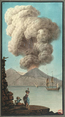 Mt. Vesuvius' Morning Eruption Poster by British Library