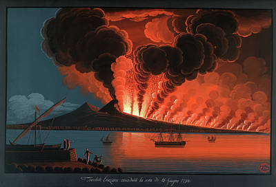Mt. Vesuvius' Terrible Eruption Poster by British Library