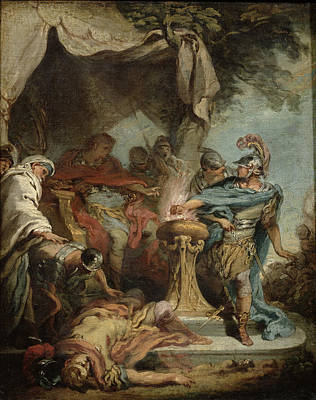Mucius Scaevola Before Porsenna Oil On Canvas Poster by Francois Boucher