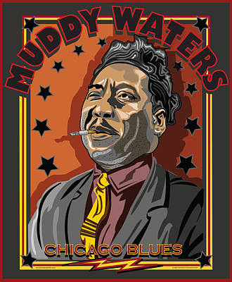 Muddy Waters Chicago Blues Poster by Larry Butterworth