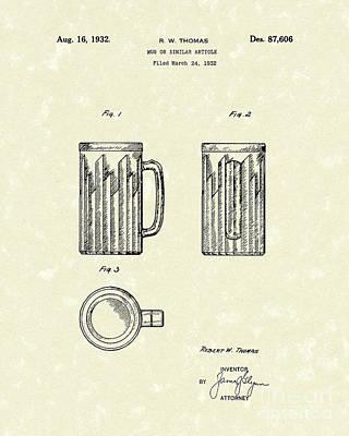 Mug 1932 Patent Art Poster by Prior Art Design