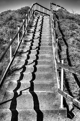 Muir Beach Overlook Staircase In Black And White Poster by Jennifer Rondinelli Reilly - Fine Art Photography