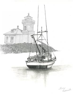 Poster featuring the drawing Mukilteo Lighthouse by Terry Frederick