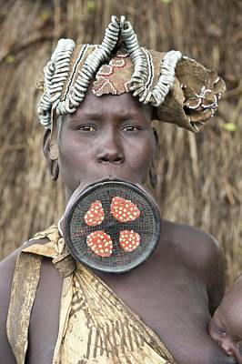 Mursi Woman With Lip Plate Poster