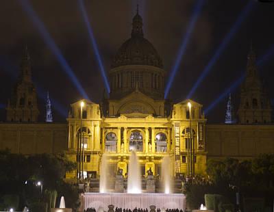 Poster featuring the photograph Museu Nacional D'art De Catalunya Light Show by Nathan Rupert