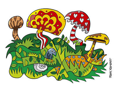 Mushroom Fantasy Doodle Poster