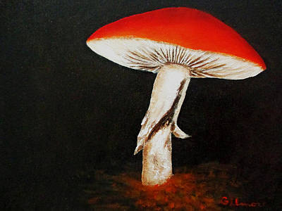 Poster featuring the painting Mushroom by Roseann Gilmore