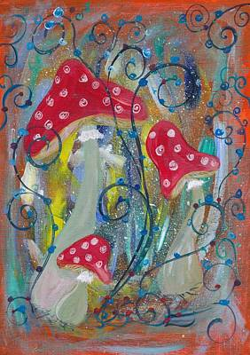 Mushrooms And Berries Poster by Mrs Wilkes Art