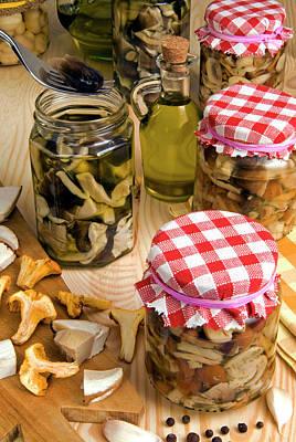 Mushrooms In Jar Preserved In Olive Oil Poster