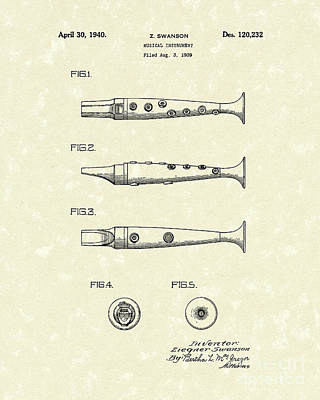 Musical Instrument 1940 Patent Art Poster