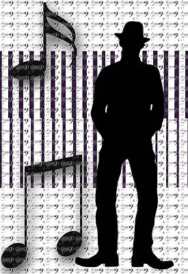 Musical Man Silhouette Poster by Susan Leggett