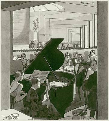 Musicians Entertain Patrons Poster by Pierre Mourgue