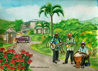 Musicians On Island Of Grenada Poster by Frank Hunter