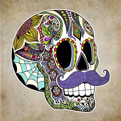 Mustache Sugar Skull Vintage Style Poster