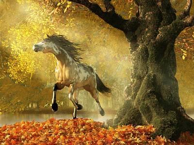 Mustang Autumn Poster by Daniel Eskridge