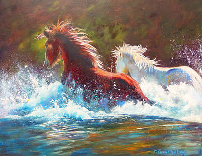 Poster featuring the painting Mustang Splash by Karen Kennedy Chatham