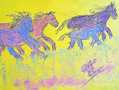 Mustangs Running With The Judas Horse Poster by Richard W Linford