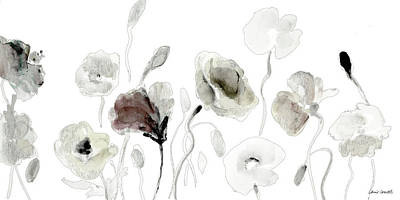 Muted Poppies Poster
