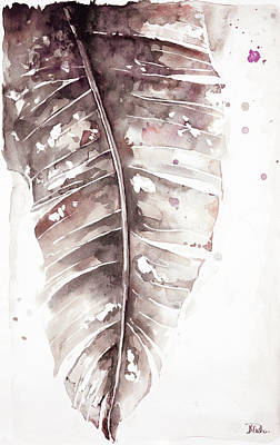 Muted Watercolor Plantain Leaves I Poster