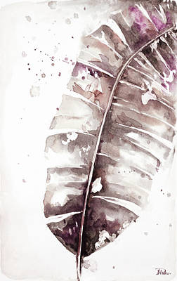 Muted Watercolor Plantain Leaves II Poster
