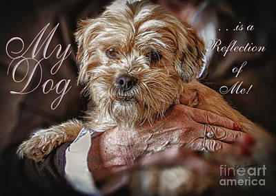Poster featuring the digital art My Dog Is A Reflection Of Me by Kathy Tarochione