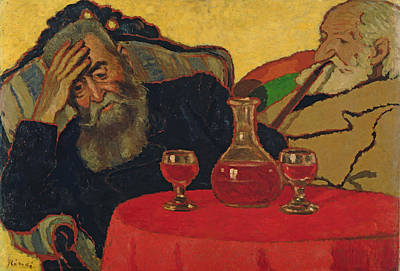 My Father With Uncle Piacsek Drinking Red Wine, 1907 Poster by Jozsef Rippl-Ronai