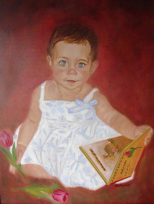 Poster featuring the painting My First Book by Sharon Schultz
