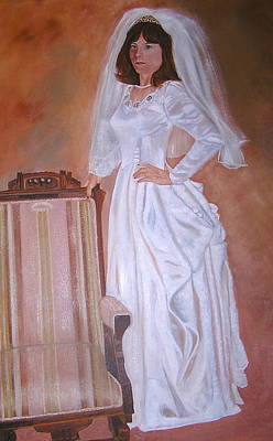 Poster featuring the painting My Grandmothers Chair by Sharon Schultz