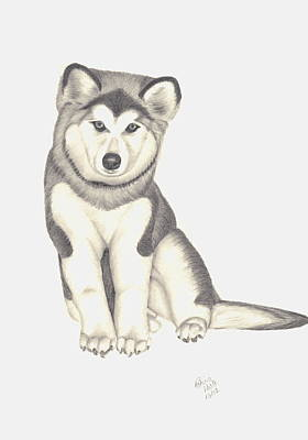 Poster featuring the drawing My Husky Puppy-misty by Patricia Hiltz