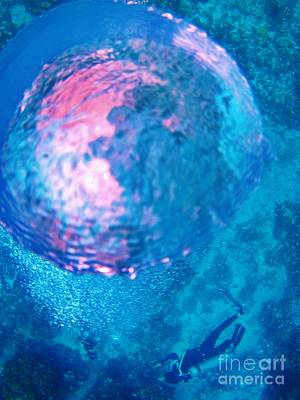 My Reflection In A Divers Bubble Poster by John Malone