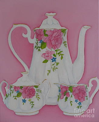 My Royal Doulton  English Rose Teaware Poster by Margaret Newcomb