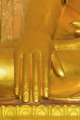 Myanmar Bagan Htilominlo Temple Hand Poster by Inger Hogstrom