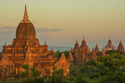 Myanmar Bagan Sunrise Over The Temples Poster