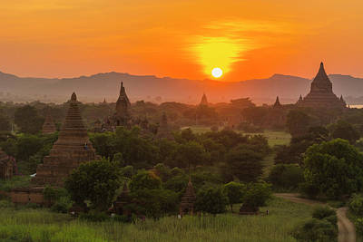Myanmar Bagan Sunset Over The Temples Poster