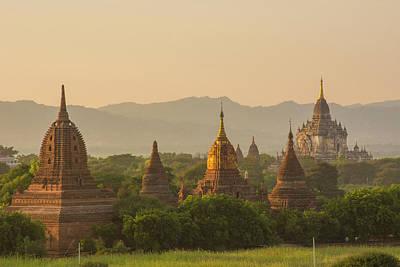 Myanmar Bagan Temples At Sunset Poster