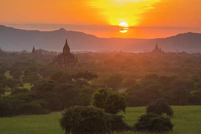 Myanmar Bagan Temples Of Bagan At Sunset Poster